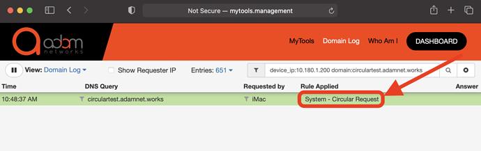 circular DNS screenshot